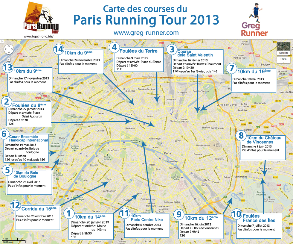 Paris Running Tour 2013: la carte