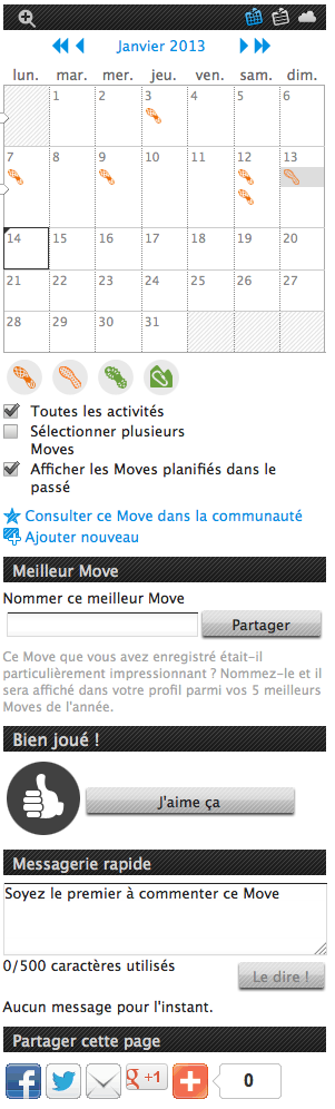 Movescount: agenda des moves