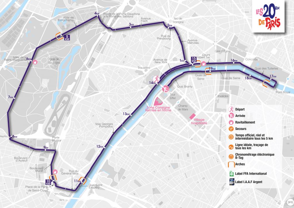 Parcours du 20km de Paris