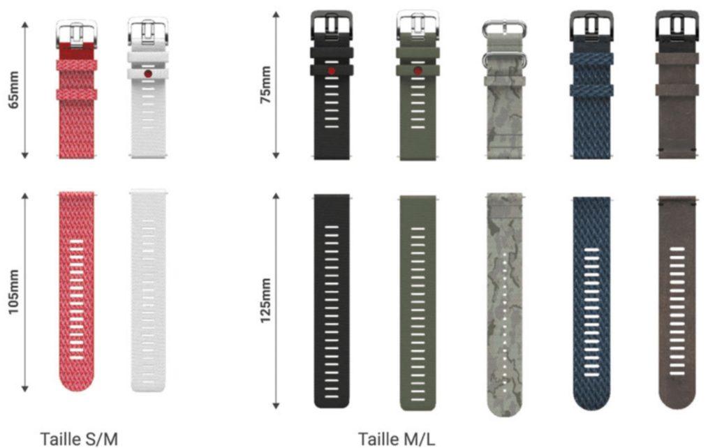 Les différents bracelets interchangeables de la Polar Grit X