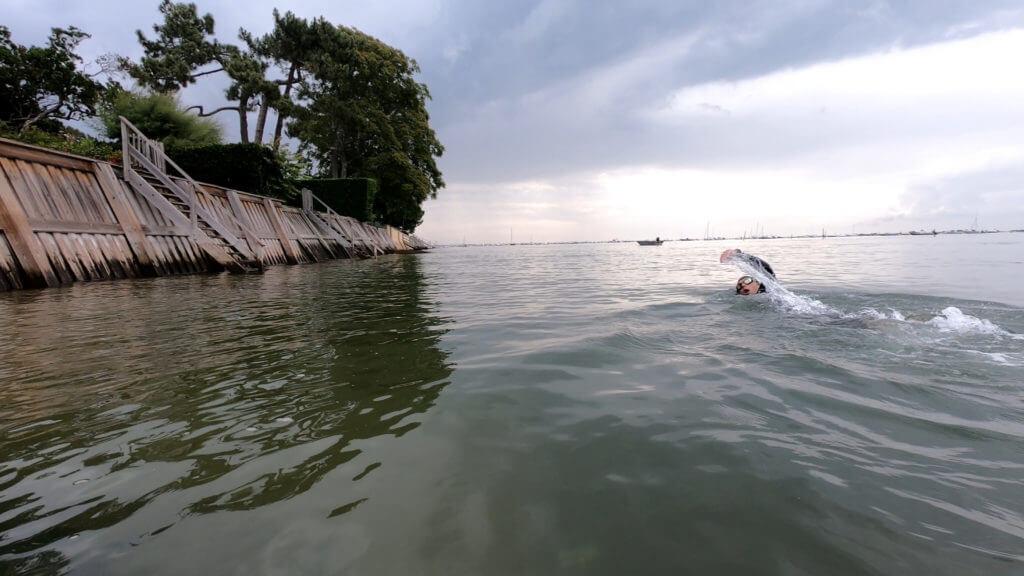 La partie natation du Tour du bassin d'Arcachon.