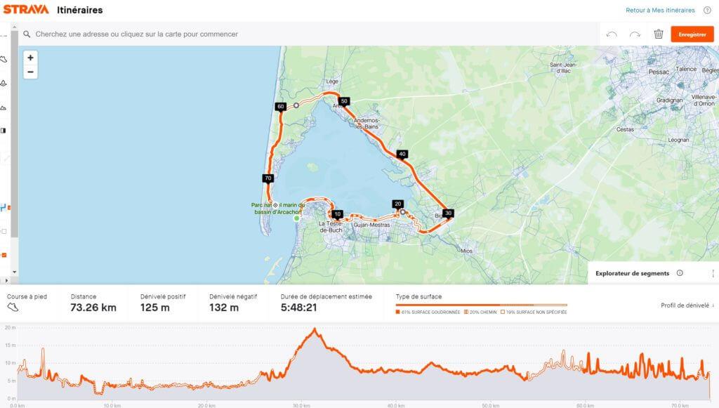 Itinéraire de la partie course à pied du Tour du Bassin d'Arcachon