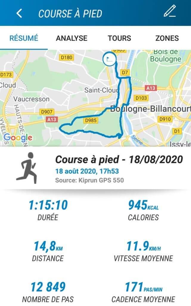 Décathlon Connect: visualisation de l'activité