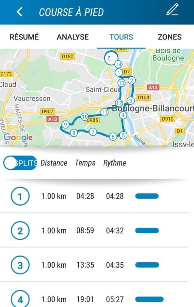 Décathlon Connect: visualisation des tours